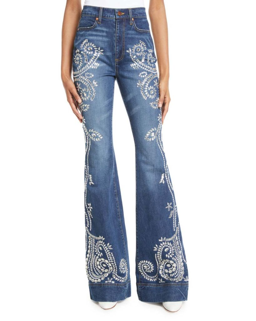 AO.LA by Alice + Olivia Beautiful Embellished High-Rise Bell-Bottom Jeans