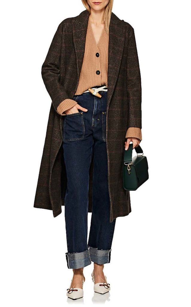 Boon the shop Checked Cashmere-Wool Belted Coat_1
