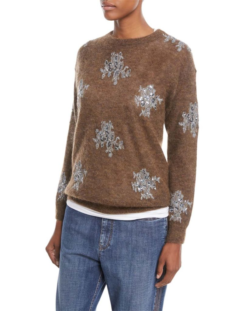 Brunello Cucinelli Mohair-Alpaca Crewneck Sweater with Sequin-Lace Applique