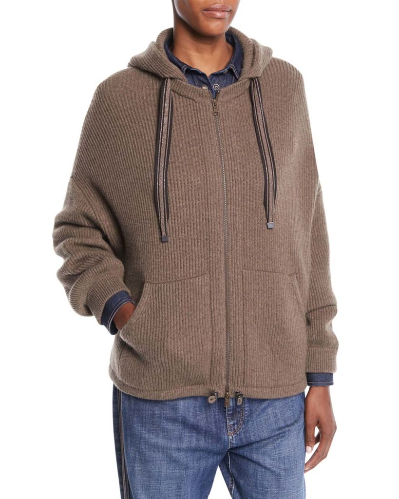 Brunello Cucinelli Zip-Front Ribbed Cashmere Hoodie Cardigan w_ Monili Strings