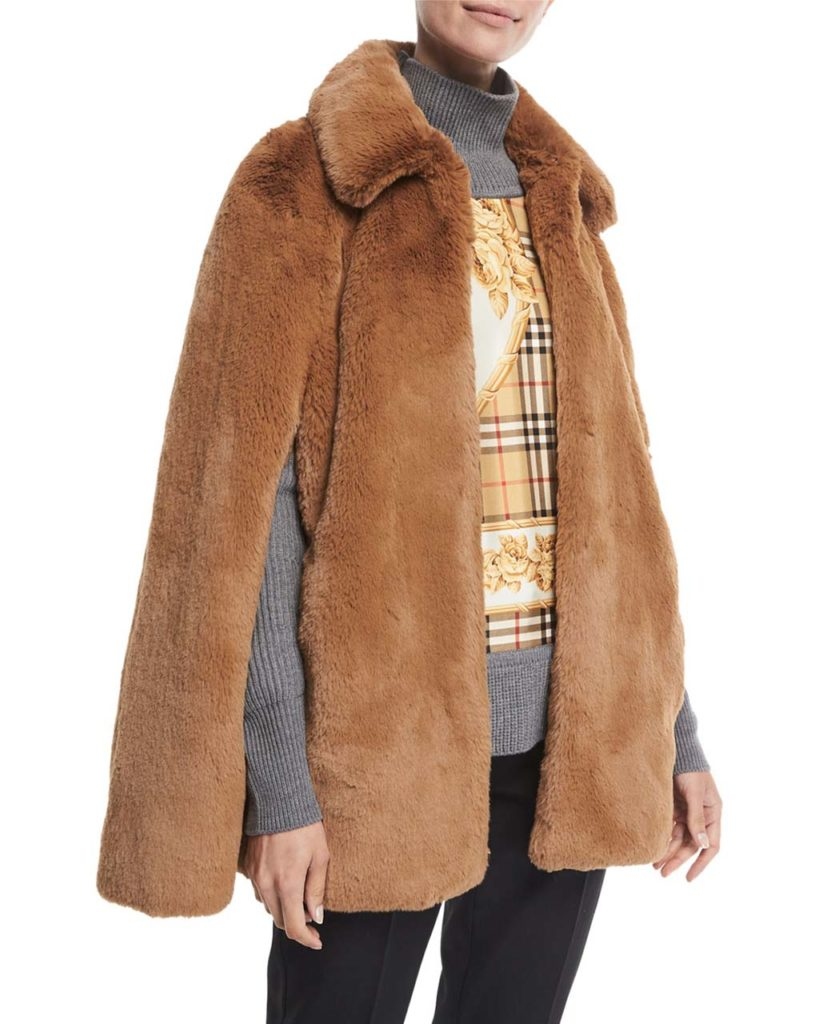 Burberry Allford Faux-Fur Cape