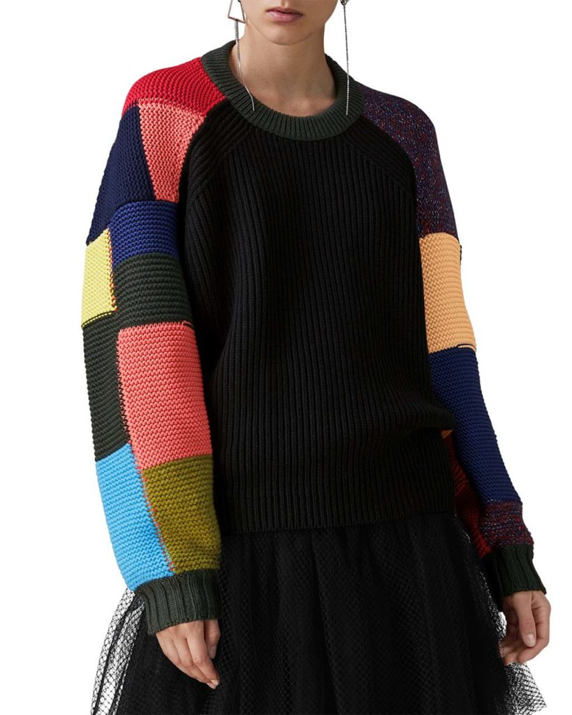 Burberry Crewneck Multicolor Patchwork Wool-Cashmere Cable-Knit Sweater