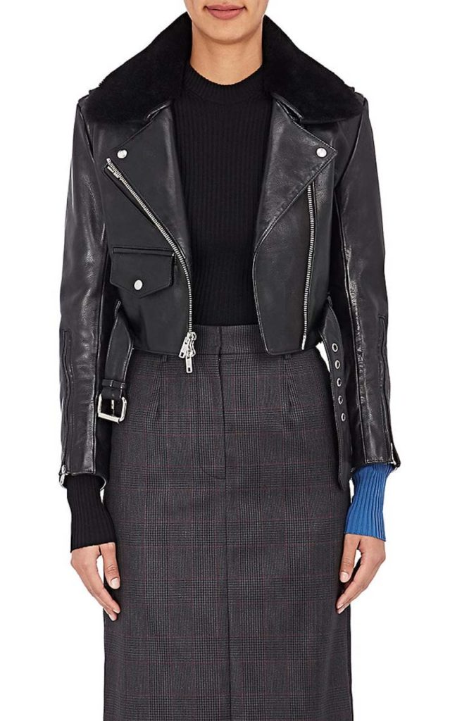 Calvin Klein 205W39NYC Shearling-Trimmed Crop Leather Jacket