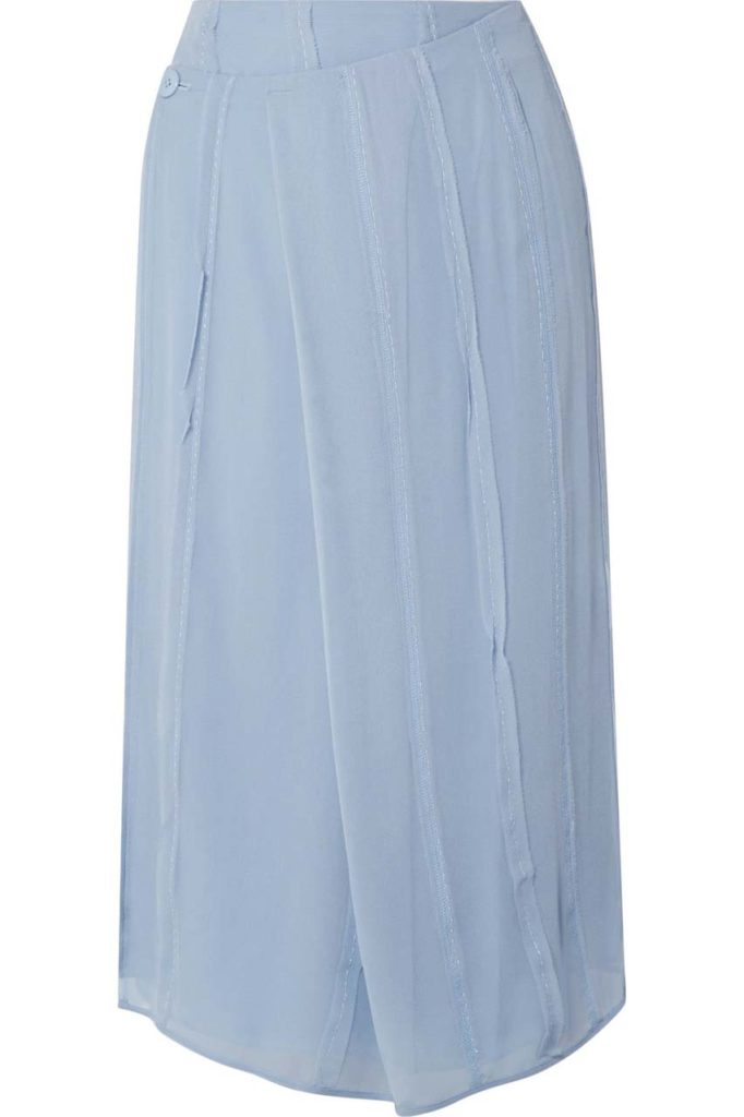 Carven Pleated Silk-Chiffon Wrap Midi Skirt