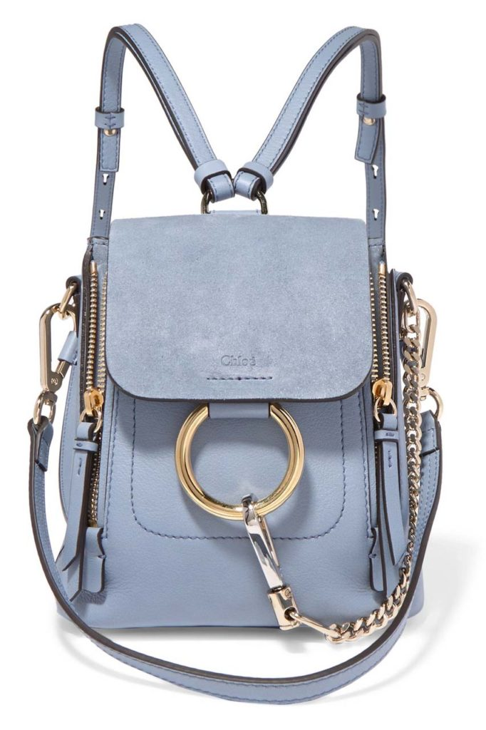 Chloé Faye Mini Textured-Leather and Suede Backpack_1