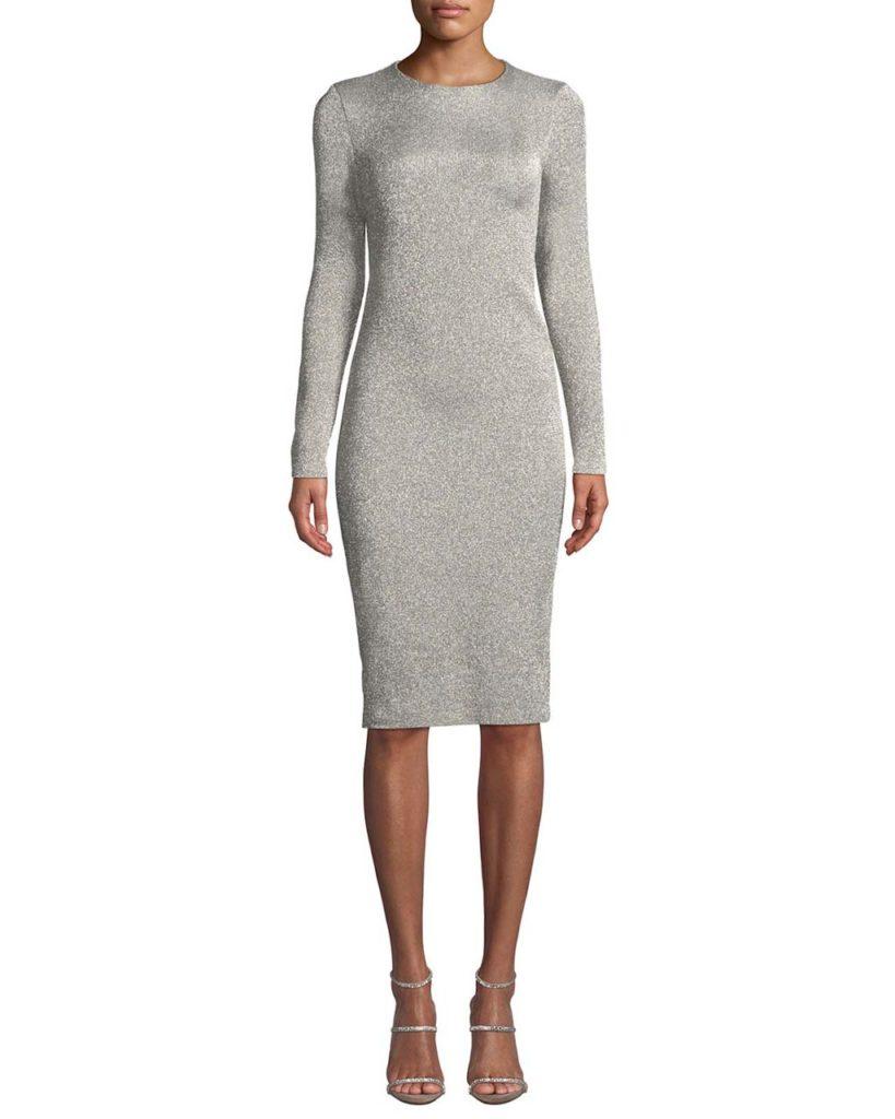 Crewneck Long-Sleeve Metallic-Jersey Body-con Midi Dress