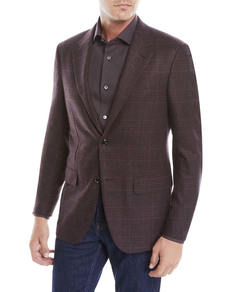 Ermenegildo Zegna Men's Two-Button Tonal Plaid Wool_Cashmere Jacket