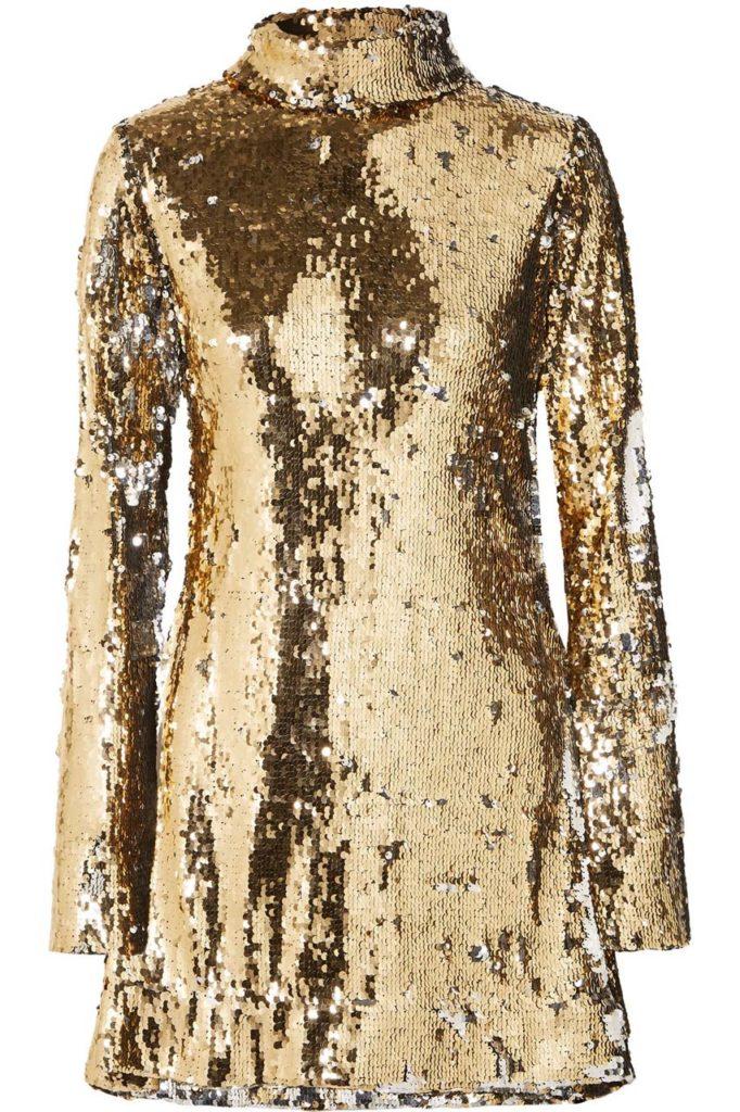 HALPERN Sequined tulle turtleneck mini dress $2,150