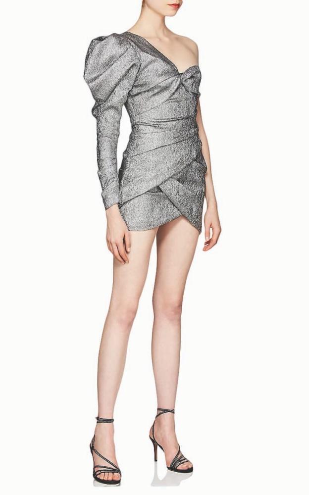 Isabel Marant Lexine Metallic One-Sleeve Minidress $1,640