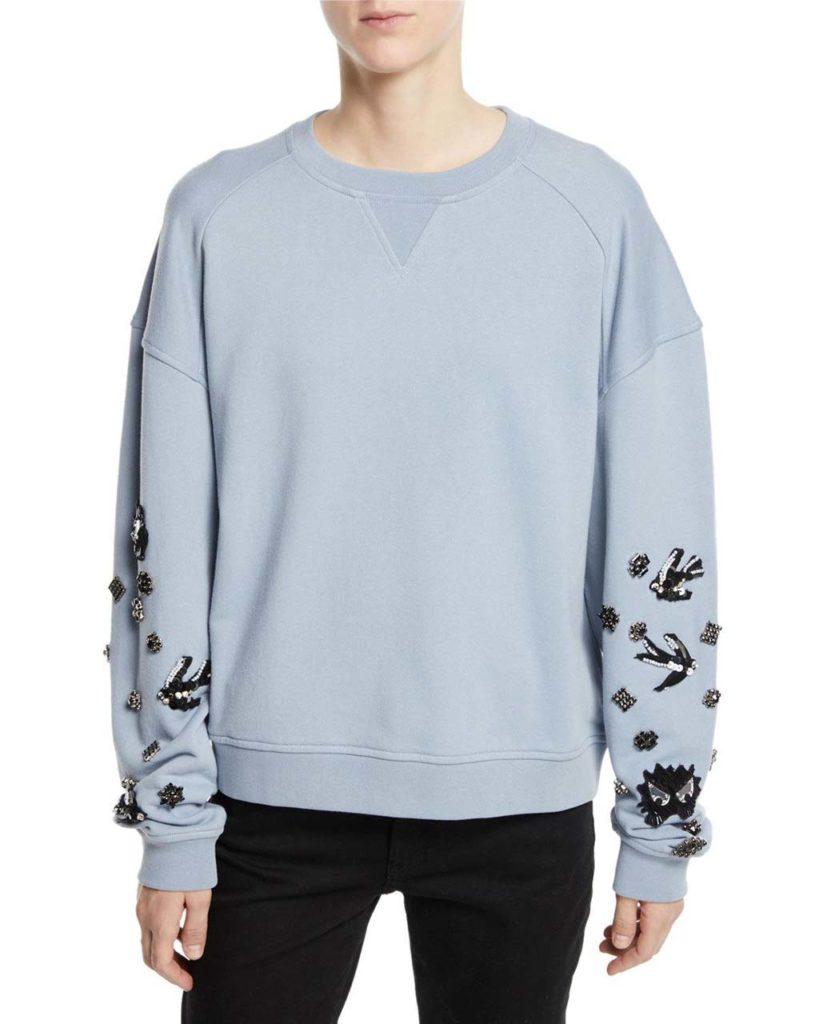 McQ Alexander McQueen Slouchy Beaded Crewneck Pullover Sweatshirt