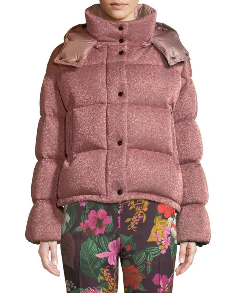 Moncler Caille Metallic Puffer Coat w_ Removable Hood