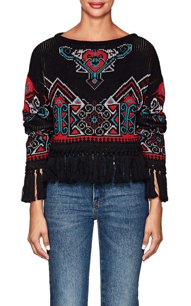 Philosophy di Lorenzo Serafini Fringed Intarsia-Knit Crop Sweater