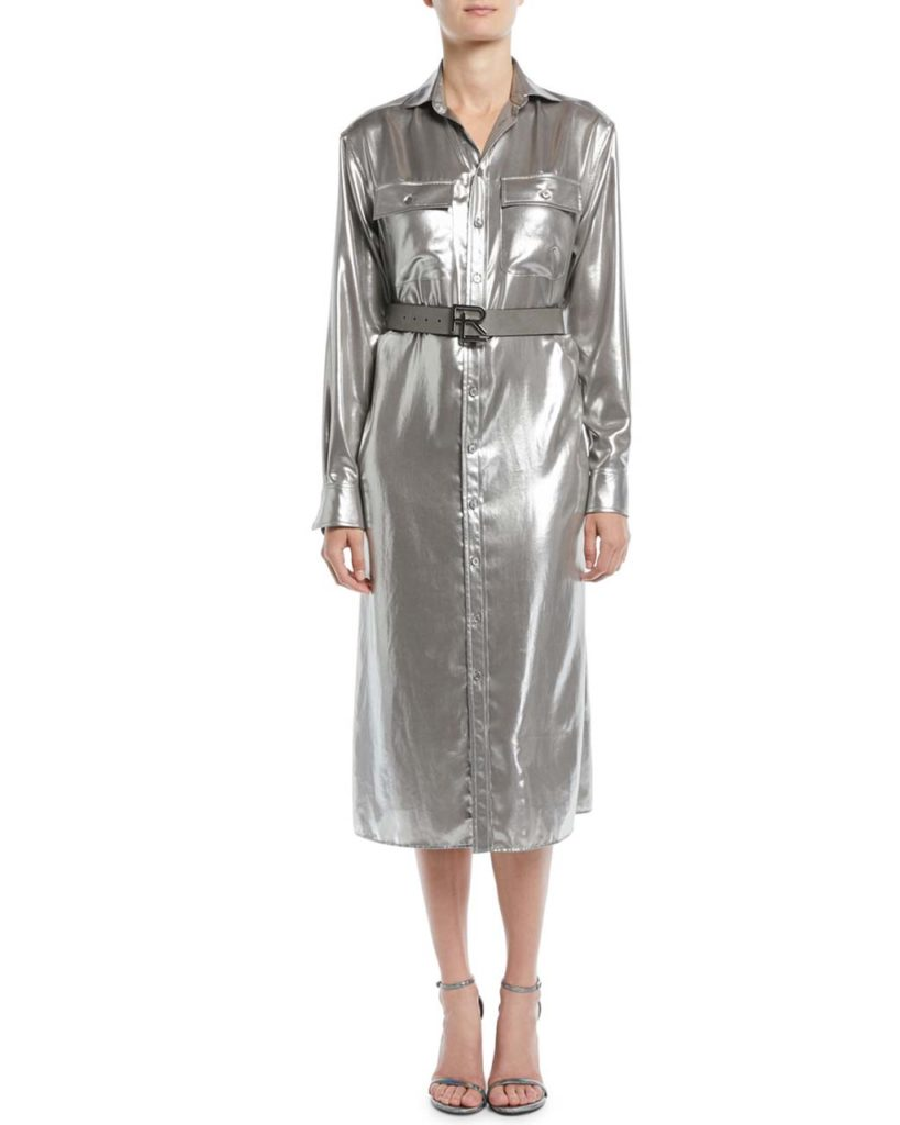 Ralph Lauren Collection Christiane Button-Down Long-Sleeve Shiny Pocket
