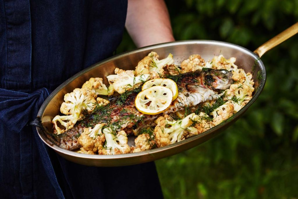 Stuffed Brook Trout with Pine Nuts and Roasted CauliflowerOPTION2