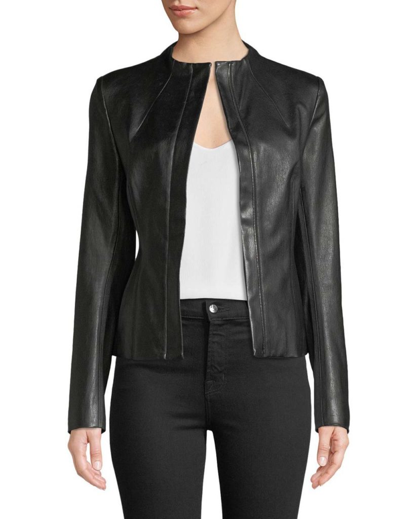 Theory Sculpted Zip Lamb Leather Jacket