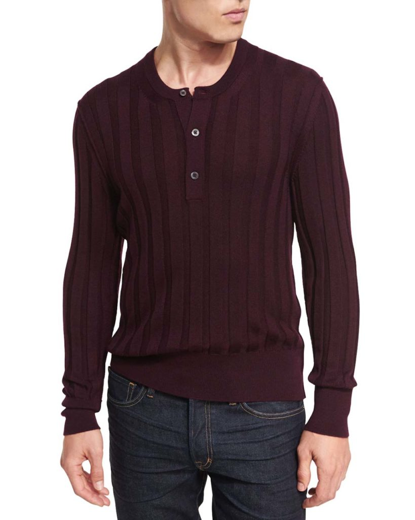 Tom Ford Cashmere-Silk Ribbed Henley Sweater