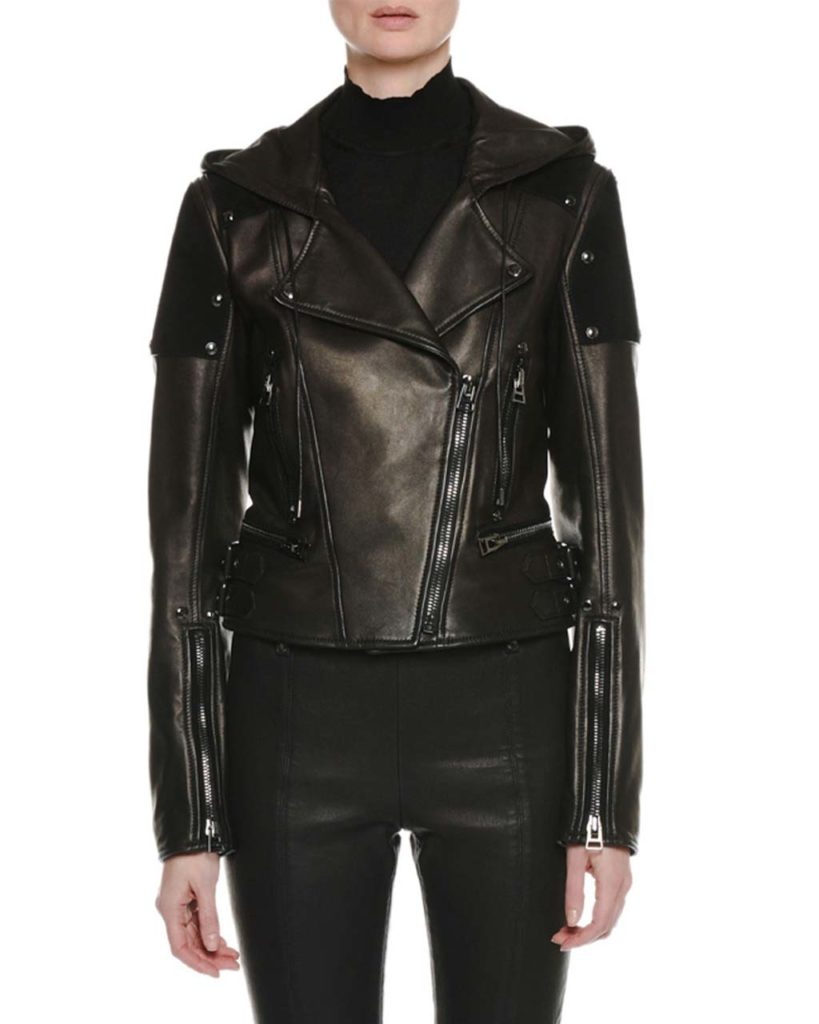Tom Ford Zip-Front Leather and Suede Hooded Biker Jacket