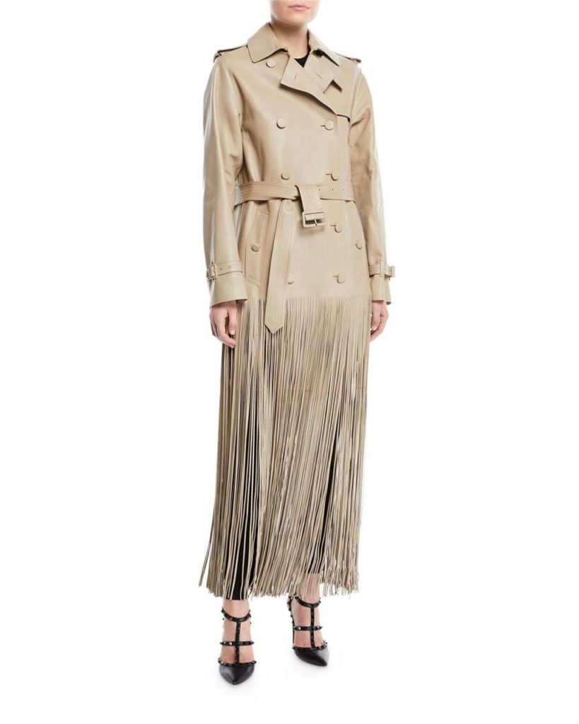 Valentino Fringe Hem Leather Trench