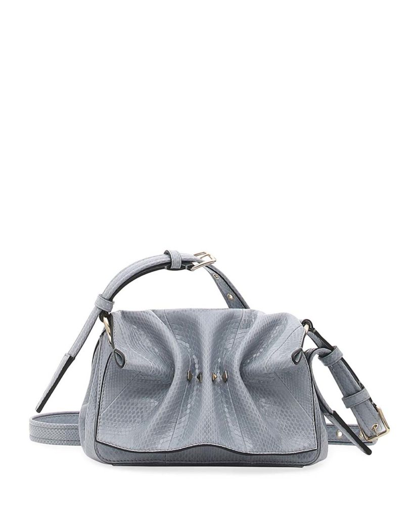 Valentino Garavani Bloomy Mini Gathered Snakeskin Shoulder Bag