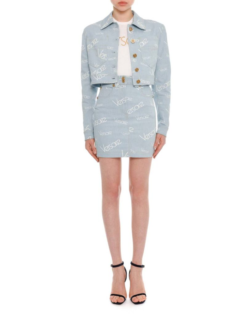 Versace Button-Front Cropped Denim Jacket & High-Rise Logo-Print Knee-Length Denim Skirt