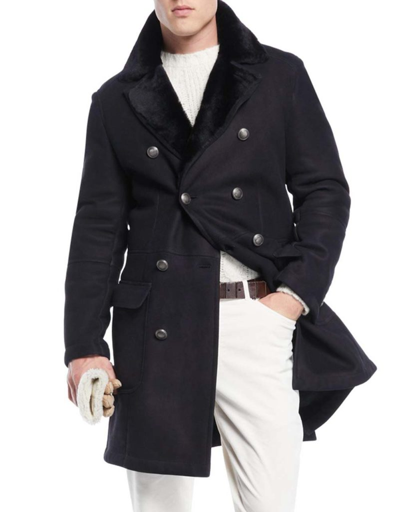 Brunello Cucinelli Mens Fur Lined Double Breasted Overcoat