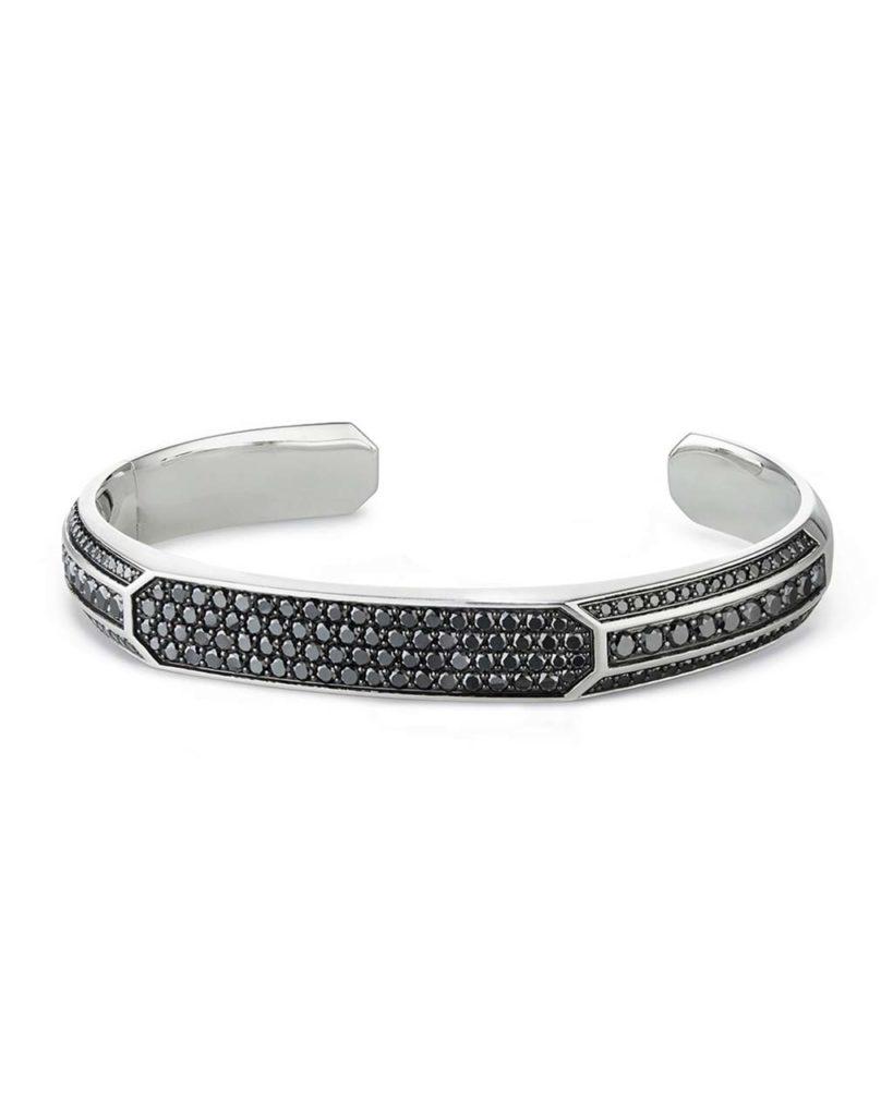 David Yurman Heirloom Mens Cuff Bracelet with Black Diamonds