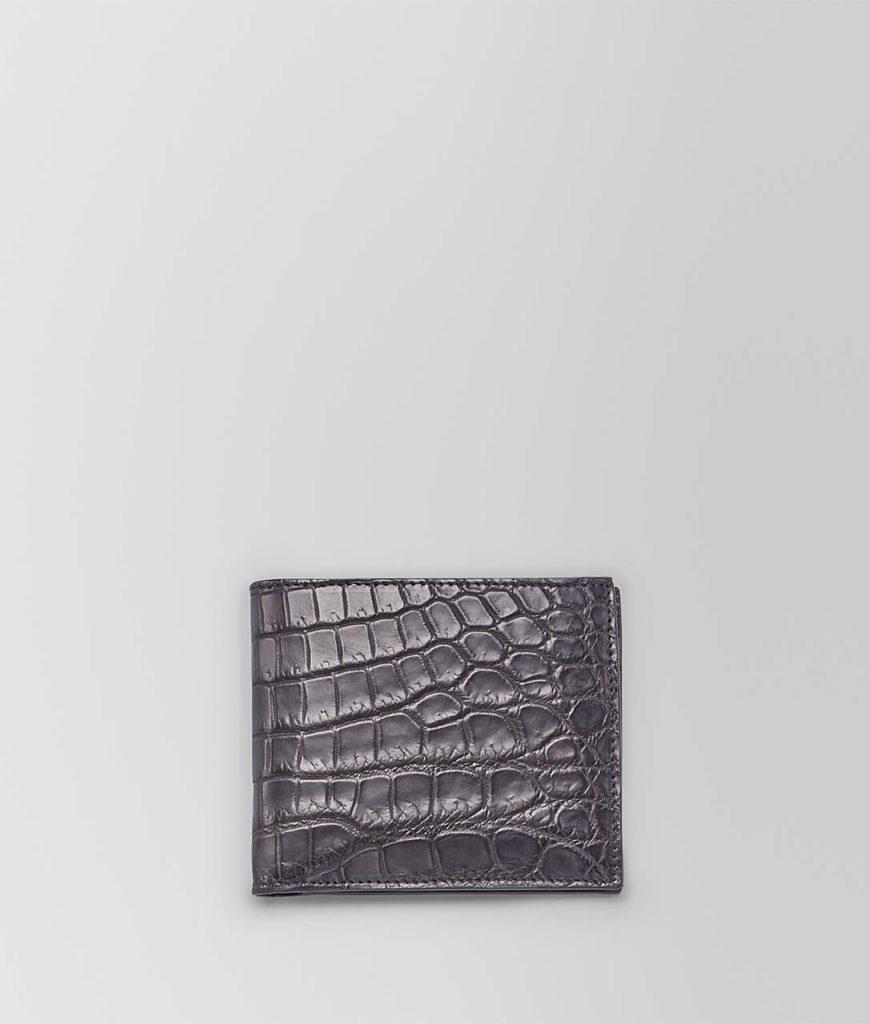 bottega croc leather wallet