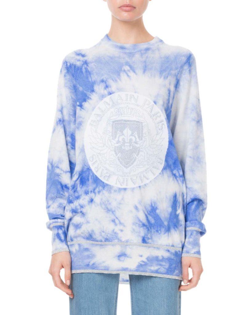 Balmain Long-Sleeve Tie-Dye Logo Sweatshirt