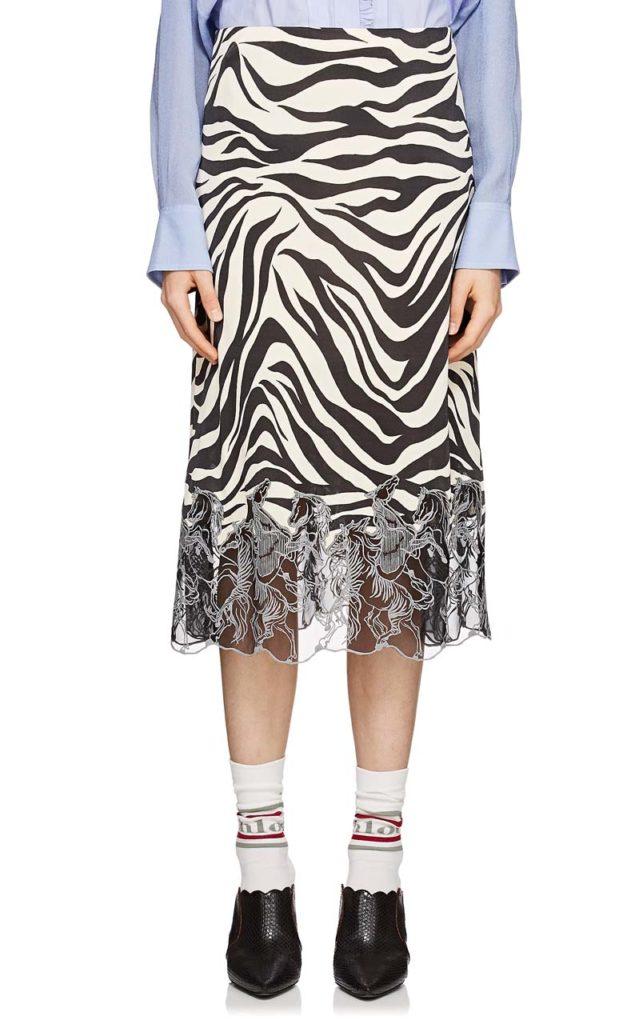 Chloé Embroidered-Hem Zebra-Print Skirt