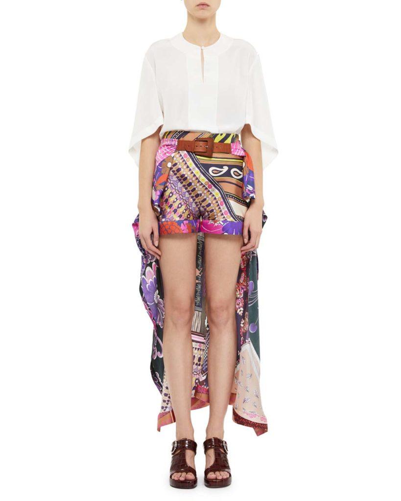 Chloe Multi-Print Silk Dress Shorts