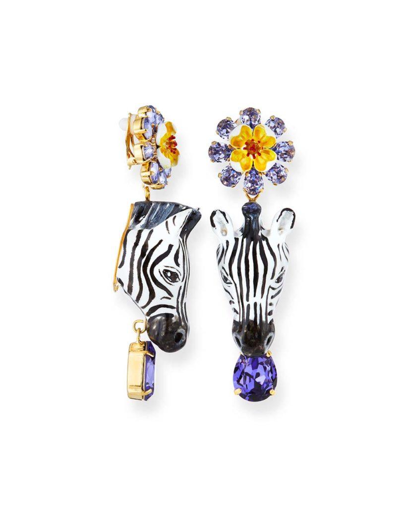 Dolce & Gabbana Zebra Crystal Earrings