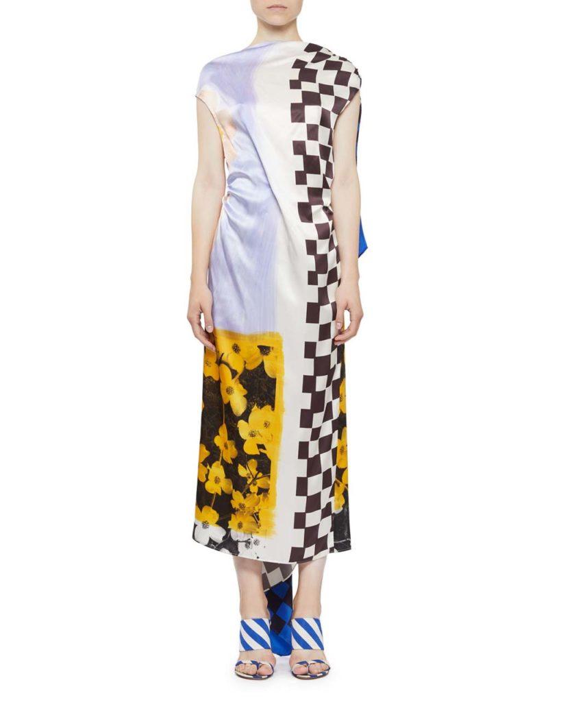 Dries Van Noten V-Back Check & Floral Silk Dress_1