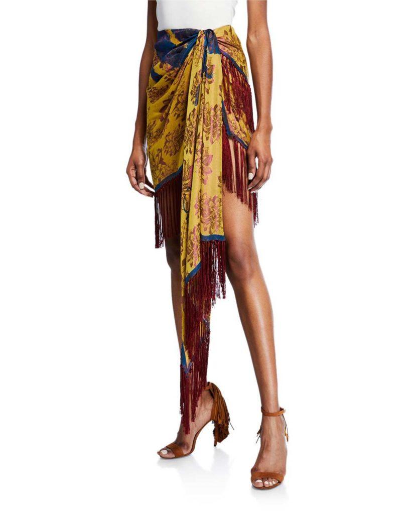 Oscar de la Renta Fringe-Trim Wrap-Front Tulip Skirt