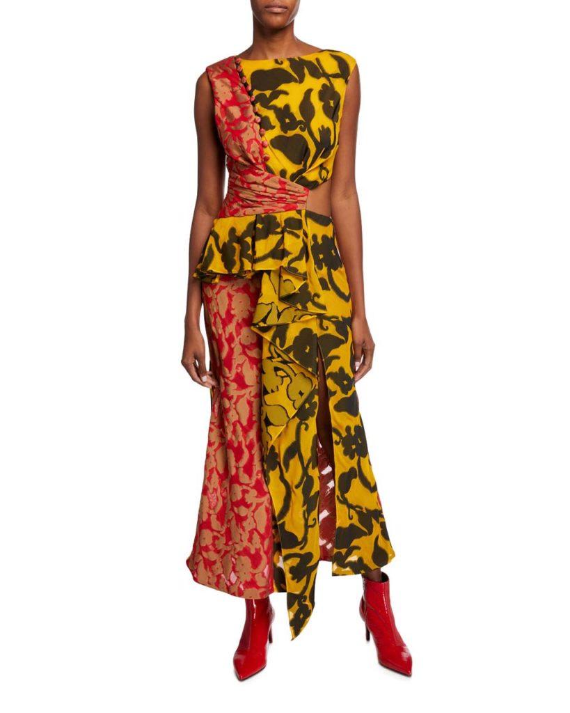 Prabal Gurung Ruffle-Trim Sleeveless Mixed Floral-Print Dress