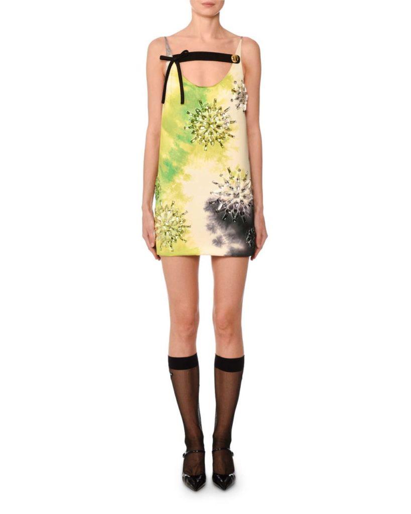 Prada Sleeveless Tie-Dye Beaded Mini Dress