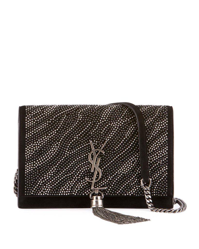 Saint Laurent Kate Monogram YSL Zebra Crystal-Beaded Tassel Chain Crossbody Bag