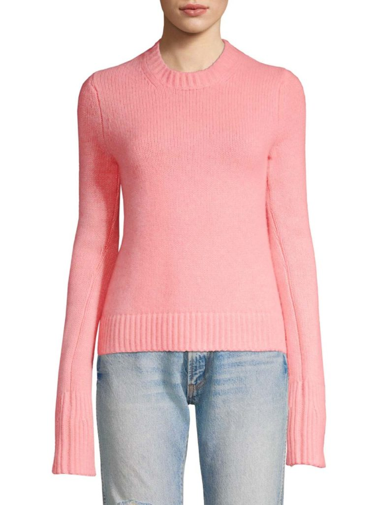 khaite-designer-salmon-Womens-Marie-Long-Sleeve-Crewneck-Sweater-Salmon-Size-Large