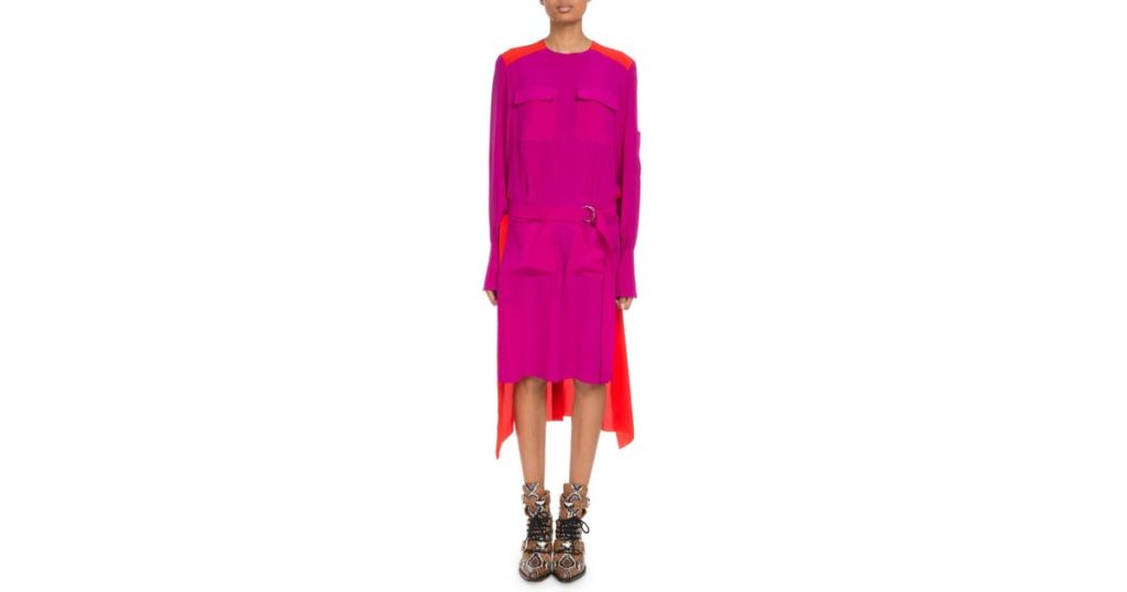 chloe-REDPINK-Long-sleeve-Colorblock-Crepe-De-Chine-Dress