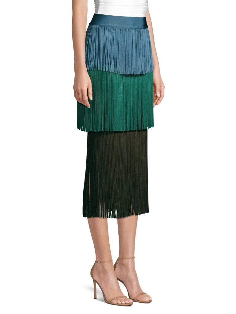 herve-leger-green-blue-Womens-Color-Block-Fringe-Skirt-Green-Blue-Size-Large