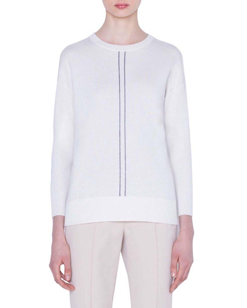 Akris Cashmere_Silk Striped-Front Sweater