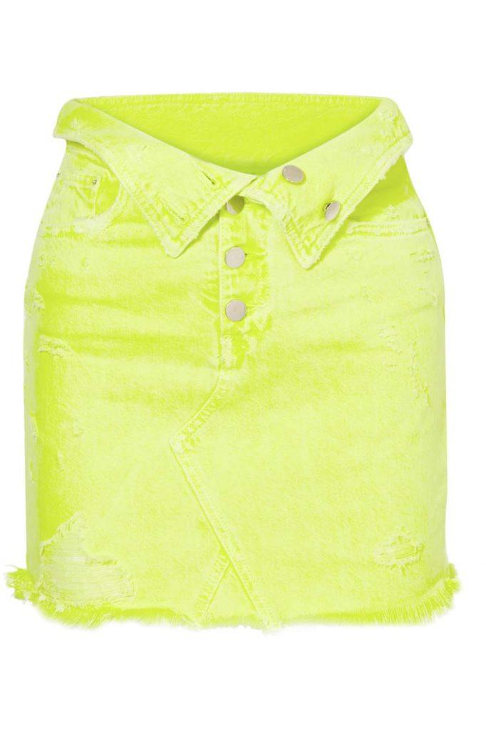 Amiri Fold-Over Distressed Denim Mini Skirt
