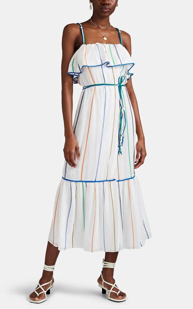 Derek Lam 10 Crosby Striped Georgette Wrap Dress