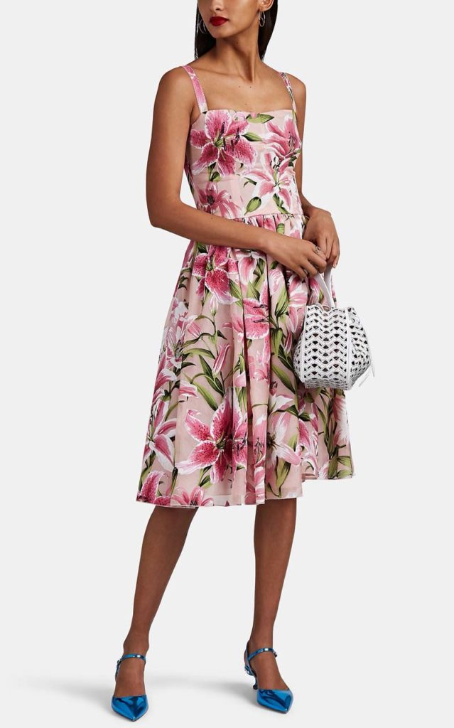 Dolce & Gabbana Lily-Flocked Midi Dress $3,595