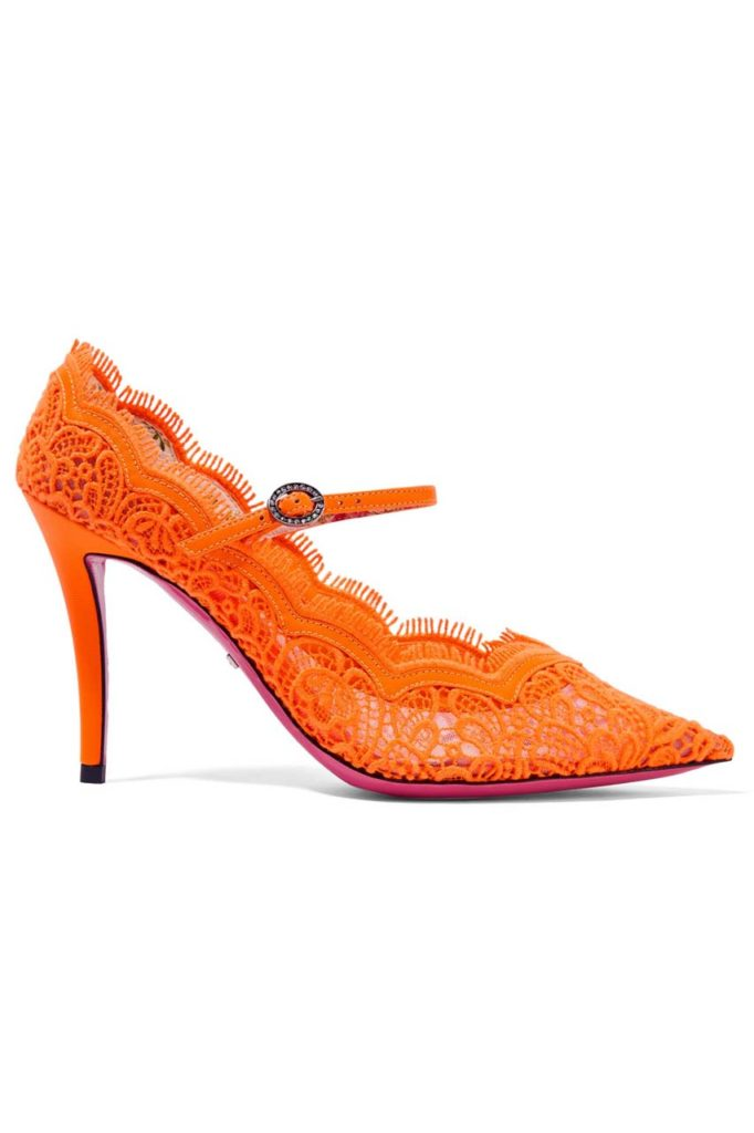 Gucci Virginia Crystal-Embellished Corded Lace Mary Jane Pumps