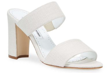 Manolo Blahnik Kalita Woven Block-Heel Slide Sandals