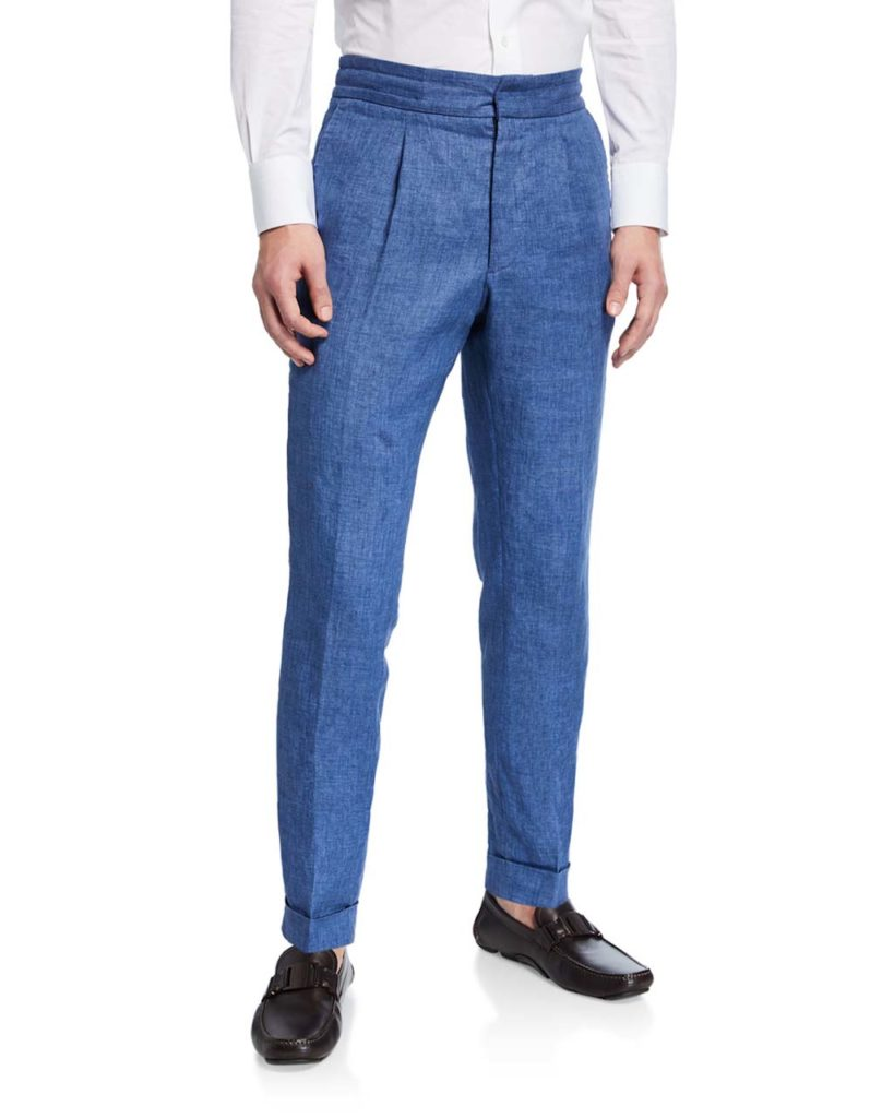 Ralph Lauren Men's Pleated-Front Tapered Linen Pants