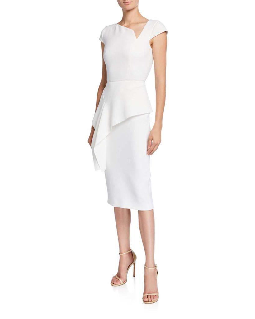 Roland Mouret Dandridge Asymmetric-Neck Cap-Sleeve Peplum Fitted Crepe Cocktail Dress