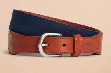 Brooks Brothers Seersucker Leather Belt