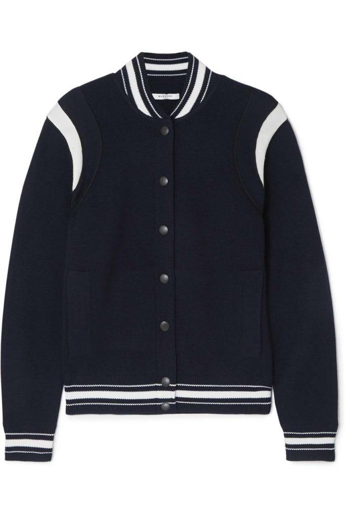 Givenchy Appliquéd Striped Wool-Blend Bomber Jacket