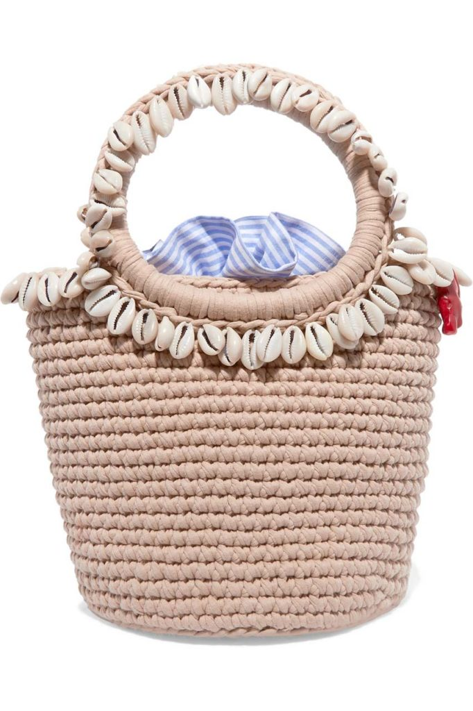 Mizele Timeless Pearly Shell-Embellished Crocheted Cotton Tote
